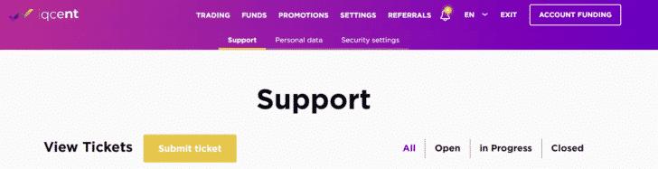 SETTINGS(設定) → Support(サポート)