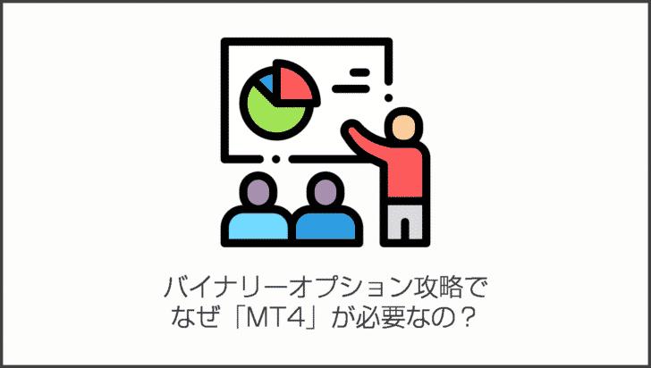 「MT4」がFXでもっとも利用されているトレードプラットフォームだからといって、バイナリーオプション攻略でなぜ「MT4」が必要なの?